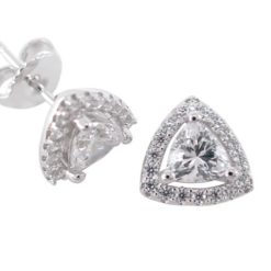 Sterling Silver 9.5mm White Cubic Zirconia Trilliant Stud Earrings