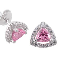 Sterling Silver 9.5mm Pink Cubic Zirconia Trilliant Stud Earrings