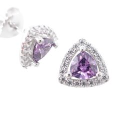 Sterling Silver 9.5mm Purple Cubic Zirconia Trilliant Stud Earrings