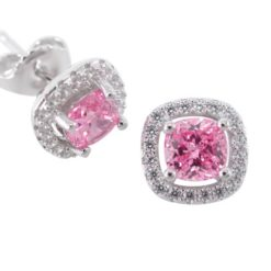 Sterling Silver 9mm Pink Cubic Zirconia Cushion Stud Earrings