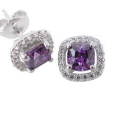 Sterling Silver 9mm Purple Cubic Zirconia Cushion Stud Earrings