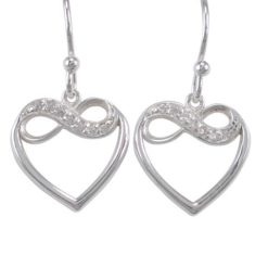 Sterling Silver 15mm White Cubic Zirconia Heart & Infinity Drop Earrings