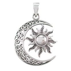 Sterling Silver 29x27mm Sun & Moon Filigree Pendant