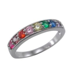 Sterling Silver 4mm Rainbow Cubic Zirconia Ring