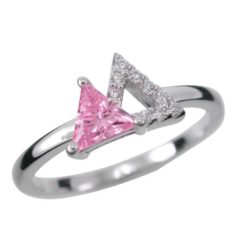 Sterling Silver 8mm Pink Cubic Zirconia Triangle Ring