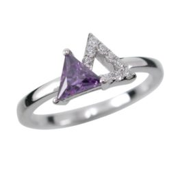 Sterling Silver 8mm Purple Cubic Zirconia Triangle Ring