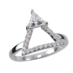 Sterling Silver 12mm White Cubic Zirconia Triangle Ring