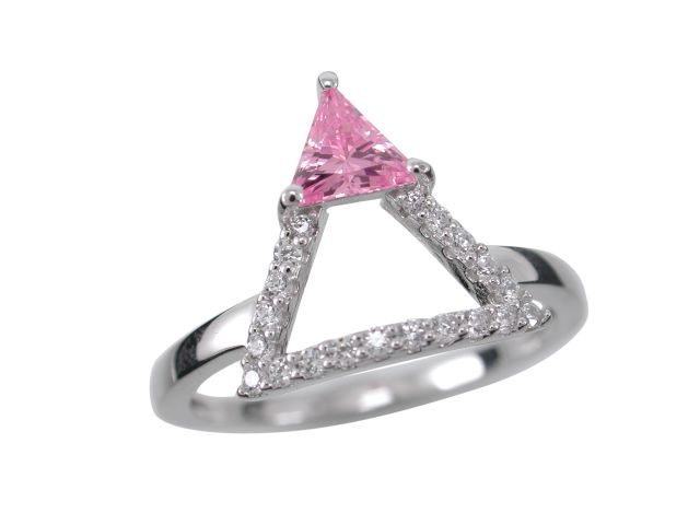 Sterling Silver 12mm Pink Cubic Zirconia Triangle Ring