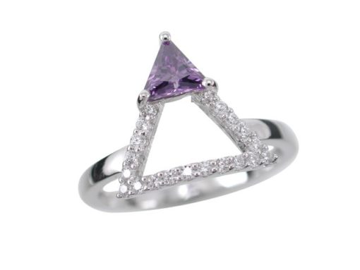 Sterling Silver 12mm Purple Cubic Zirconia Triangle Ring