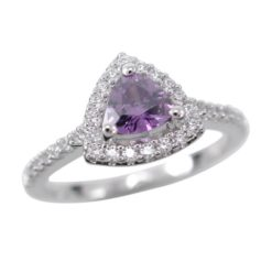 Sterling Silver 9mm Purple Cubic Zirconia Trilliant Ring