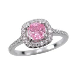 Sterling Silver 9mm Pink Cubic Zirconia Cushion Ring