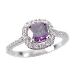 Sterling Silver 9mm Purple Cubic Zirconia Cushion Ring