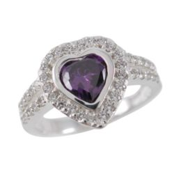 Sterling Silver 11mm Purple Cubic Zirconia Heart Ring