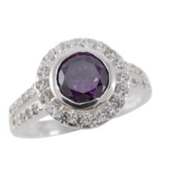 Sterling Silver 11mm Round Purple Cubic Zirconia Ring