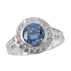 Sterling Silver 11mm Round Blue Cubic Zirconia Ring