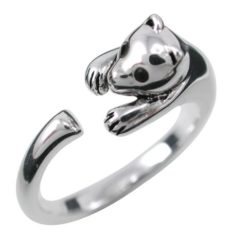 Sterling Silver 8mm Black Cubic Zirconia Cat Ring