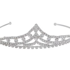 Silver Plated 35x125mm Peaked White Crystal Tiara