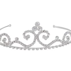 Silver Plated 40x125mm Peaked Scroll White Crystal Tiara
