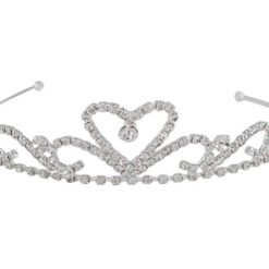 Silver Plated 33x125mm Heart & Scroll White Crystal Tiara