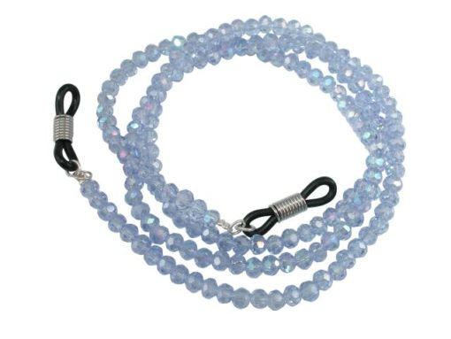 4mm Faceted Light Blue Crystal Eye Glasses Necklet 60cm
