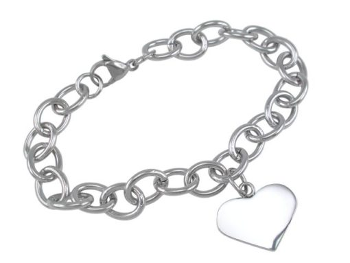 Stainless Steel 18x23mm Heart On 9mm Oval Link Bracelet (can Be Shortened) 21cm