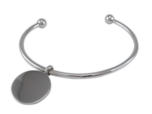 Stainless Steel 20mm Round Disc On Ball Cuff Bangle 70x50mm