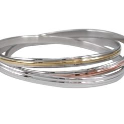 Stainless Steel 5mm 3 Tone Russian Golf Bangle 65mm