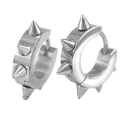 Stainless Steel 4mm Spike Huggie Earrings