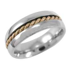 Stainless Steel 7mm Gold Ip Rope Ring