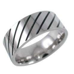 Stainless Steel 8mm Black Ip Diagonal Line Ring