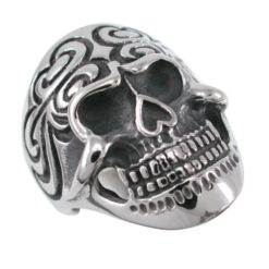 Stainless Steel 30mm Black Ip Skull Ring