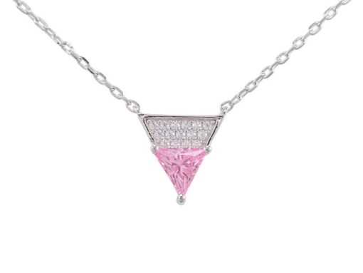 Sterling Silver 10mm Pink Cubic Zirconia Triangle Necklet 40-45cm