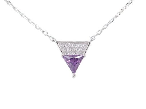 Sterling Silver 10mm Purple Cubic Zirconia Triangle Necklet 40-45cm