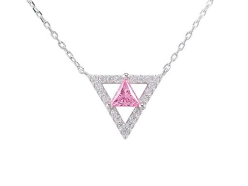 Sterling Silver 13mm Pink Cubic Zirconia Triangle Necklet 40-45cm