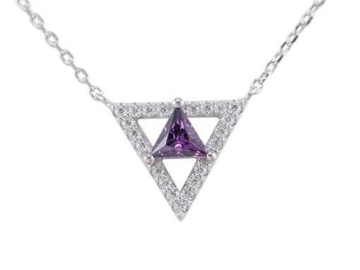 Sterling Silver 13mm Purple Cubic Zirconia Triangle Necklet 40-45cm