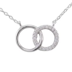 Sterling Silver 15x9mm White Cubic Zirconia Interlocking Circles Necklet 40-43cm