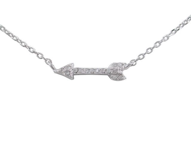 Sterling Silver 15x4mm White Cubic Zirconia Arrow Necklet 40-43cm