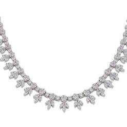 Sterling Silver 11mm White Cubic Zirconia Necklet 43cm