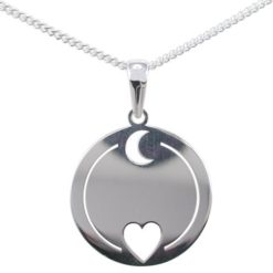 Sterling Silver 20mm *love You To The Moon & Back* Necklet 40-45cm