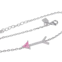 Sterling Silver 20x7mm Pink Cubic Zirconia Arrow Bracelet 18-21cm