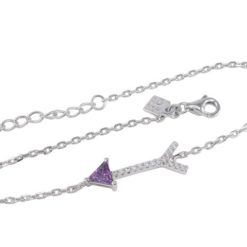 Sterling Silver 20x7mm Purple Cubic Zirconia Arrow Bracelet 18-21cm