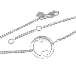Sterling Silver 16mm *love You To The Moon & Back* Bracelet 17-19cm