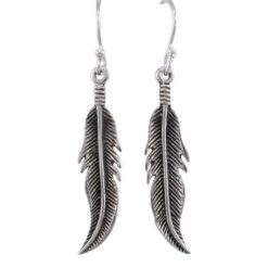Sterling Silver 28x7mm Feather Drop Earrings
