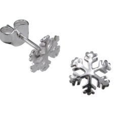 Sterling Silver 9mm Snowflake Stud Earrings
