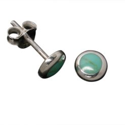 Sterling Silver 6mm Round Green Turquoise Stud Earrings
