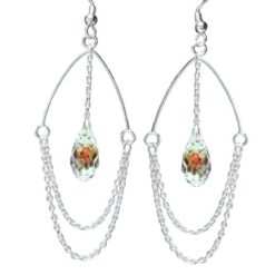 Sterling Silver 50x23mm Rainbow Crystal Crystal And Chain Loops Drop Earrings