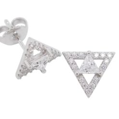 Sterling Silver 10mm White Cubic Zirconia Triangle Stud Earrings