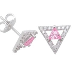 Sterling Silver 10mm Pink Cubic Zirconia Triangle Stud Earrings