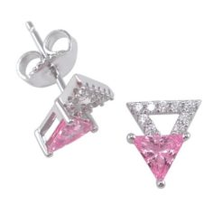 Sterling Silver 9mm Pink Cubic Zirconia Triangle Stud Earrings