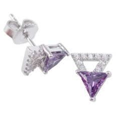 Sterling Silver 9mm Purple Cubic Zirconia Triangle Stud Earrings
